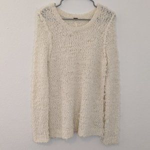 Free People Fuzzy Ivory Long Sleeve Sweater L